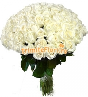 Buchet 99 trandafiri albi